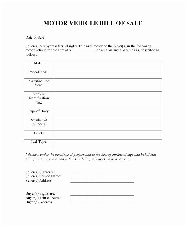 Automotive Bill Of Sale Template Unique Blank Bill Of Sale Template 7 Free Word Pdf Document