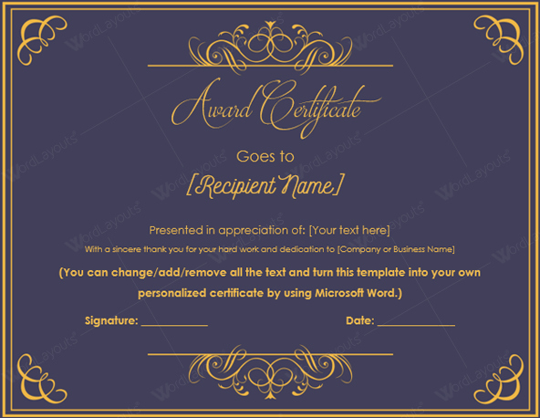Award Certificate Template Word Beautiful 10 Best Award Certificate Templates for 2016