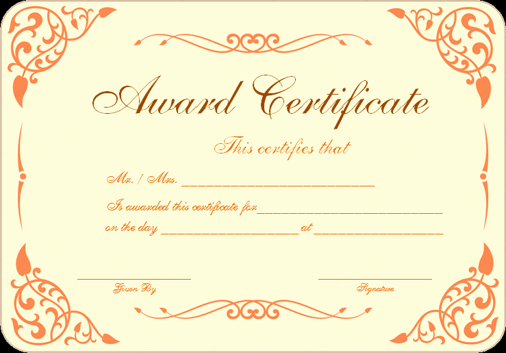 Award Certificate Template Word Lovely Free Download Award Certificate Template Samples Thogati