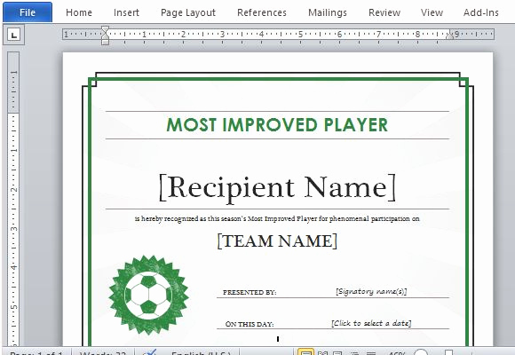 Award Certificate Template Word Luxury Printable Sports Certificate Template for Word