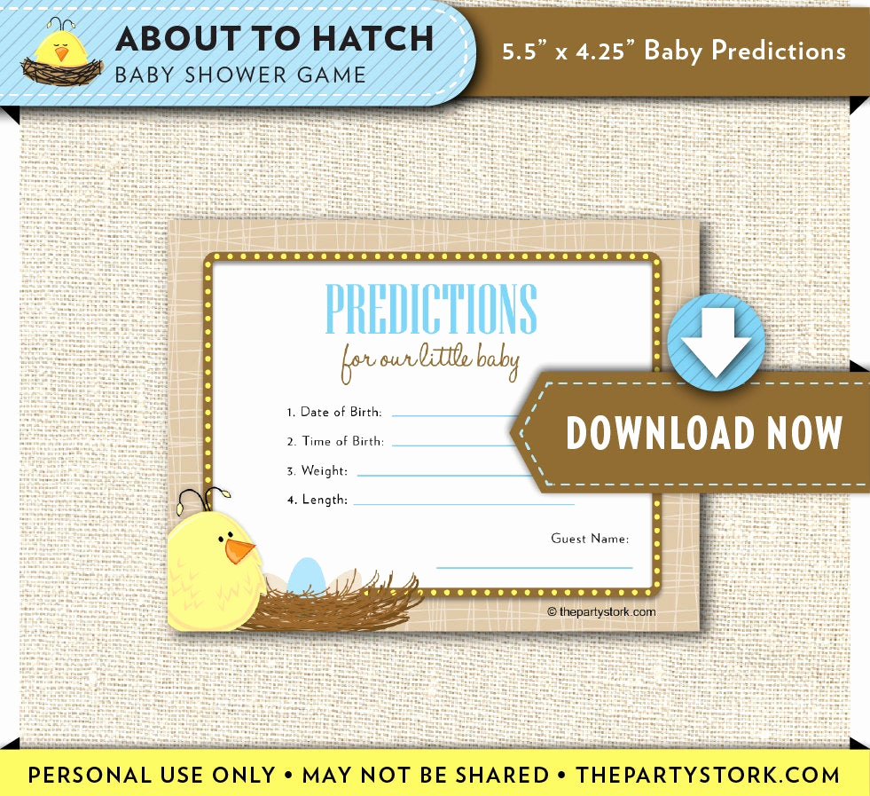 Baby Shower Card Printable Best Of Baby Prediction Card Printable Duck Baby Shower Cards About