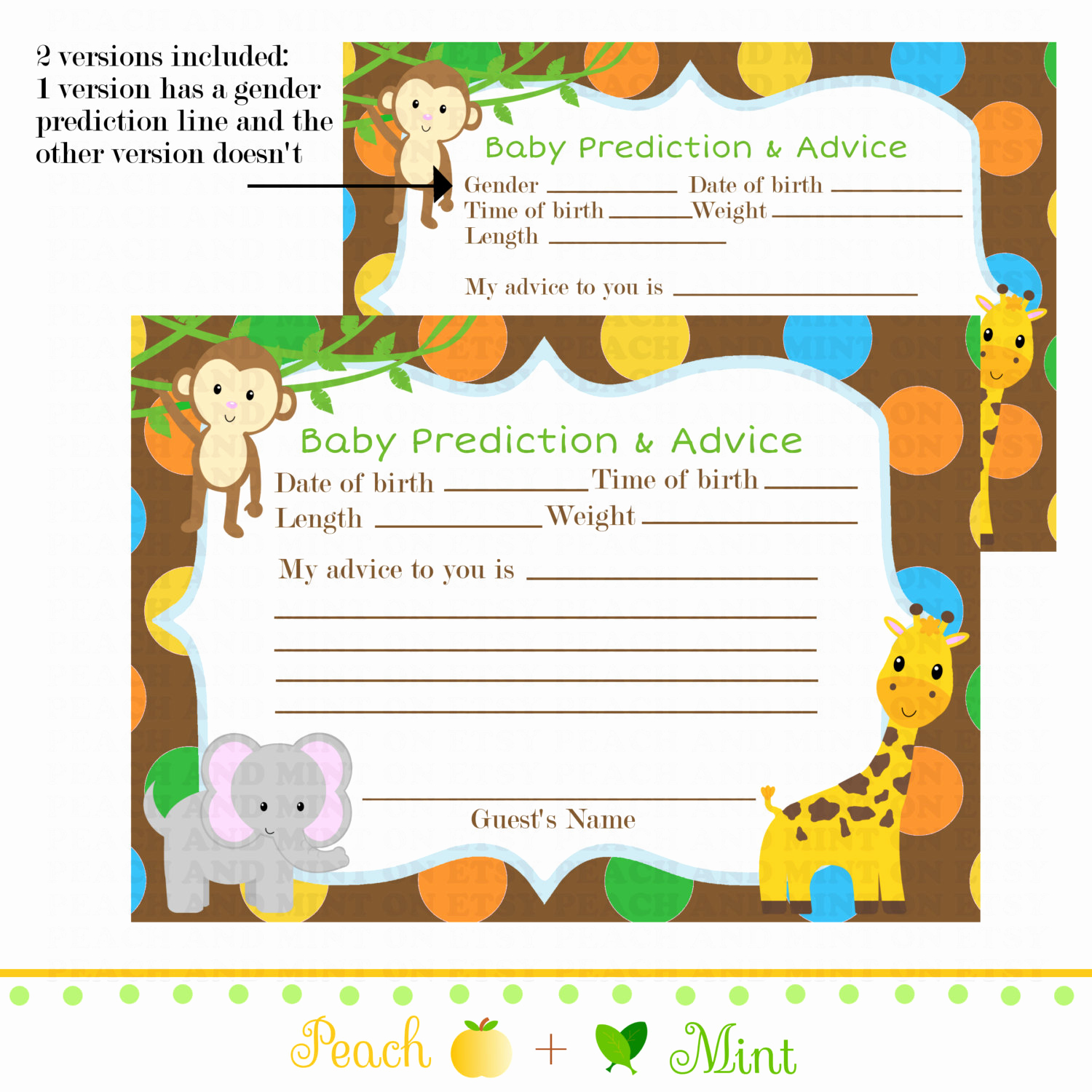Baby Shower Card Printable Inspirational Printable Safari or Jungle Baby Shower Advice Card Jungle