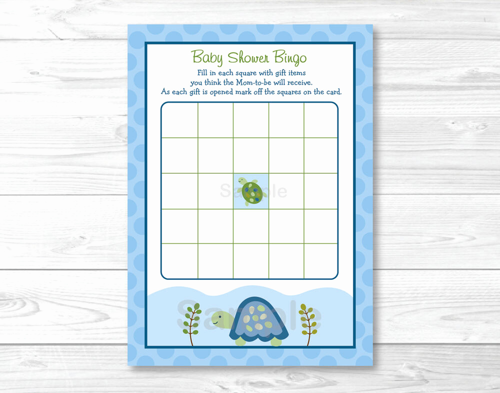 Baby Shower Card Printable New Sea Turtle Reef Printable Baby Shower Bingo Cards