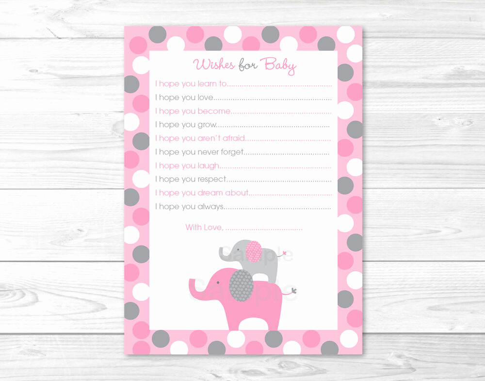 Baby Shower Card Printable Unique Pink Gray Polka Dot Elephant Printable Baby Shower Wishes