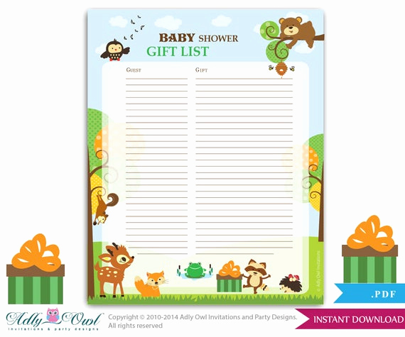 Baby Shower Gift Lists Awesome forest Animals Guest Gift List Guest Sign In Sheet Card for