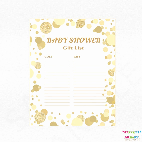 Baby Shower Gift Lists Best Of Gold Baby Shower Gift List Printable Gift List Baby Shower