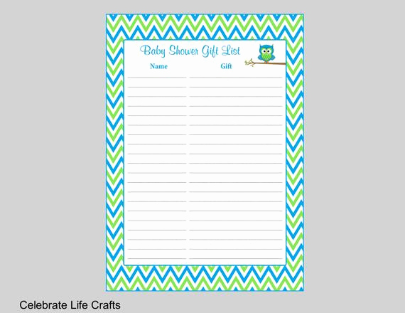Baby Shower Gift Lists Best Of Owl Baby Shower Gift List Printable Gift Record Sheet for