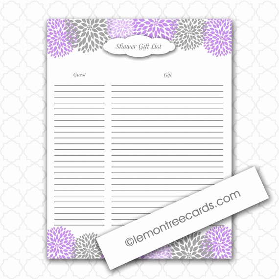 Baby Shower Gift Lists Fresh Items Similar to Lavender Bridal or Baby Shower Gift List