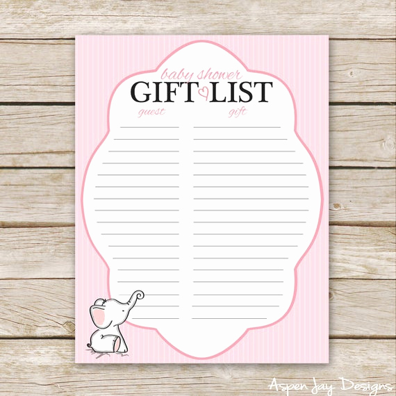 Baby Shower Gift Lists Fresh Pink Elephant Baby Shower Gift List Printable Download