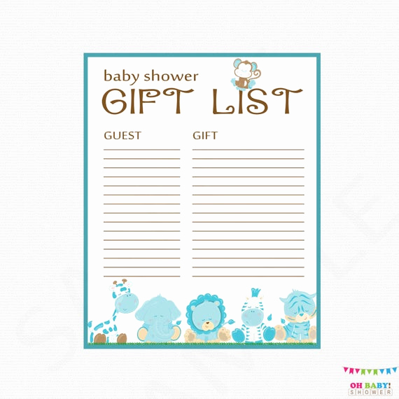 Baby Shower Gift Lists Fresh Safari Baby Shower Gift List Printable Gift List Baby Shower