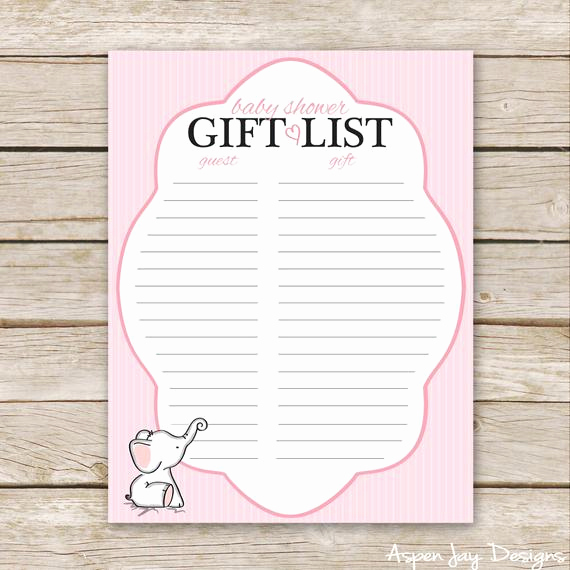 Baby Shower Gift Lists Inspirational Pink Elephant Baby Shower Gift List Printable Download