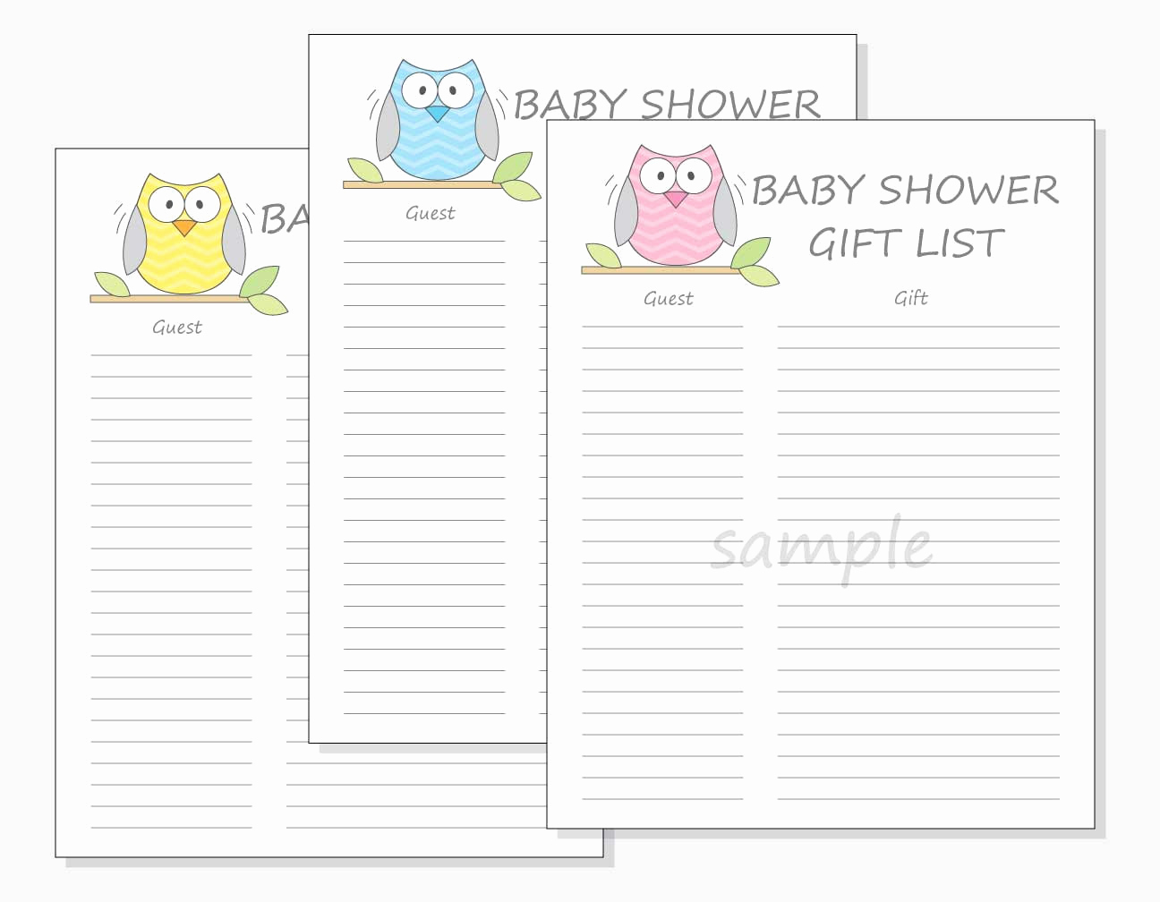 Baby Shower Gift Lists Lovely Diy Baby Shower Guest Gift List Printable Chevron Owl Design