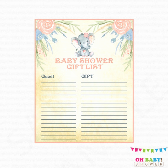 Baby Shower Gift Lists Lovely Elephant Baby Shower Gift List Elephant Baby Shower Girl