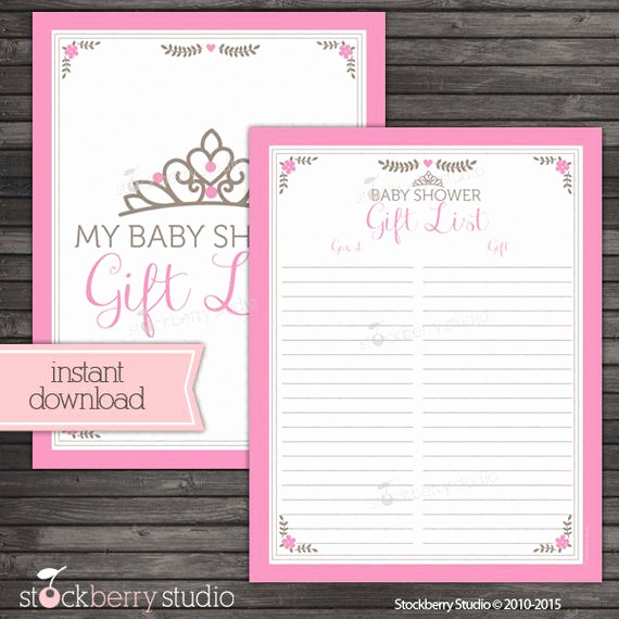 Baby Shower Gift Lists Luxury Princess Baby Shower Gift List Printable Pink Baby Shower