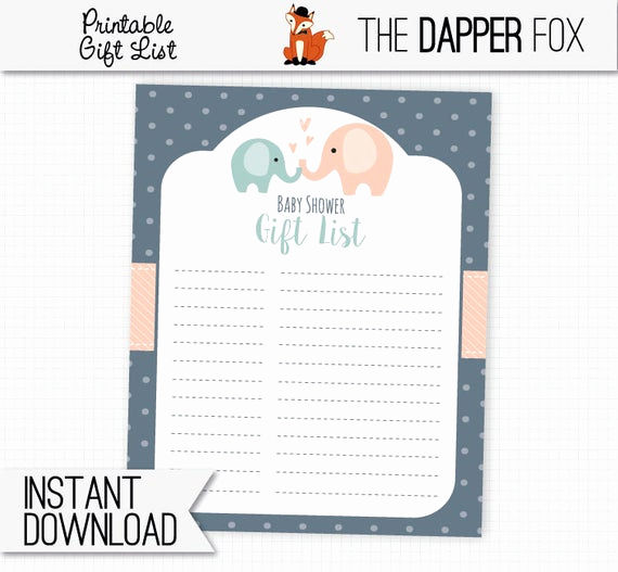 Baby Shower Gift Lists New Baby Shower Gift List Navy Elephant Printable Digital