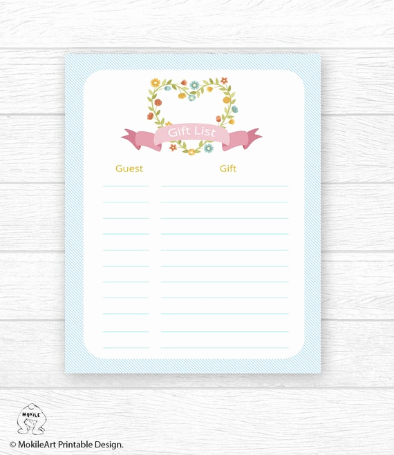 Baby Shower Gift Lists Unique Baby Shower Gift List Printable Digital T List Baby