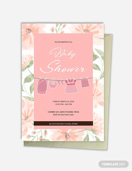 Baby Shower Invitations Templates Editable Beautiful Floral Baby Shower Template Download 344 Invitations In