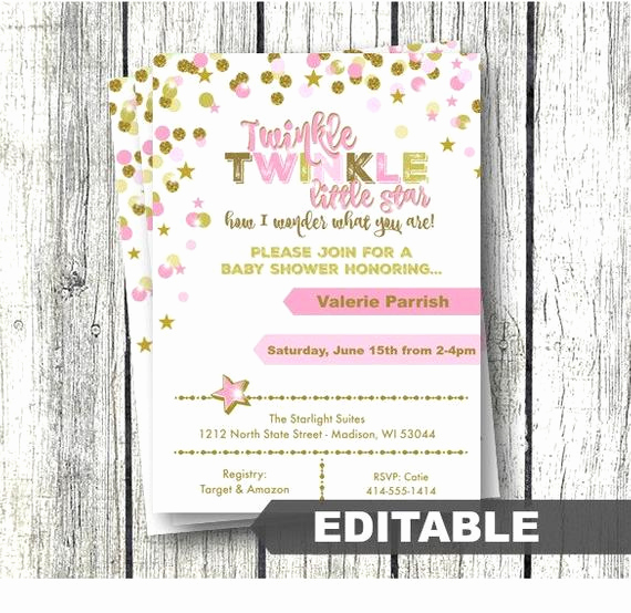 Baby Shower Invitations Templates Editable Fresh Twinkle Twinkle Little Star Baby Shower Invitation Pink