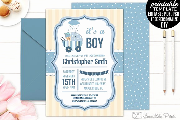 Baby Shower Invitations Templates Editable Inspirational Boy Baby Shower Invitation Template Invitation Templates