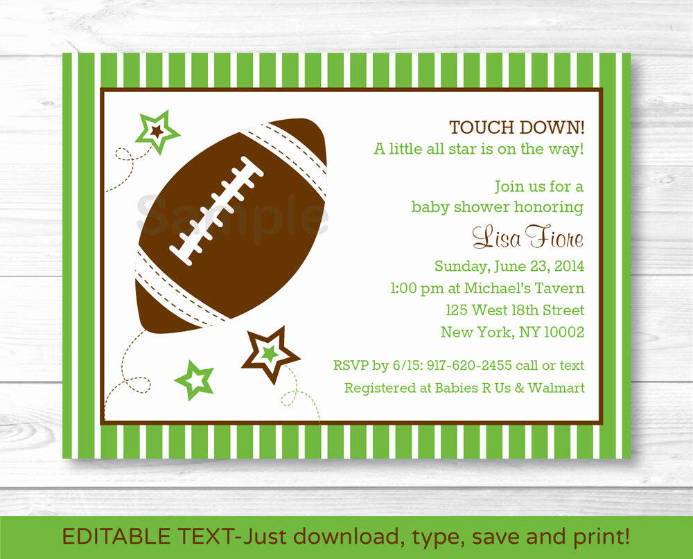 Baby Shower Invitations Templates Editable Lovely Football All Star Printable Baby Shower Invitation