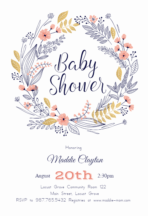 Baby Shower Invitations Templates Editable Lovely Friendship Wreath Baby Shower Invitation Template Free