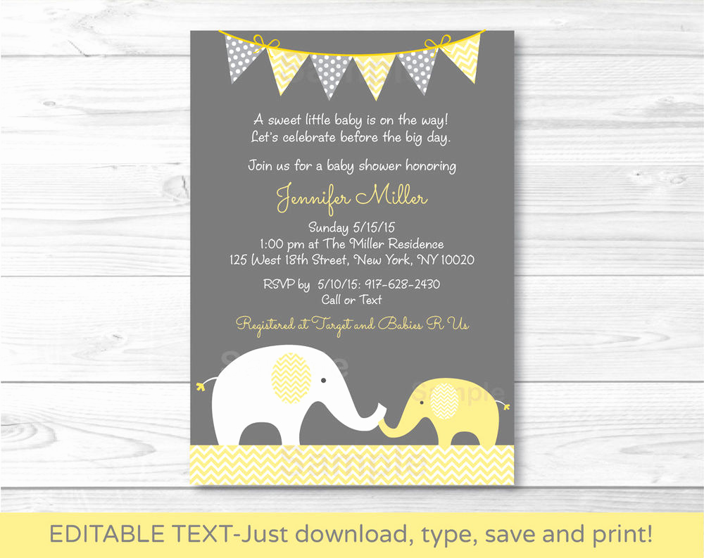 Baby Shower Invitations Templates Editable Lovely Yellow Chevron Elephant Mom & Baby Printable Baby Shower