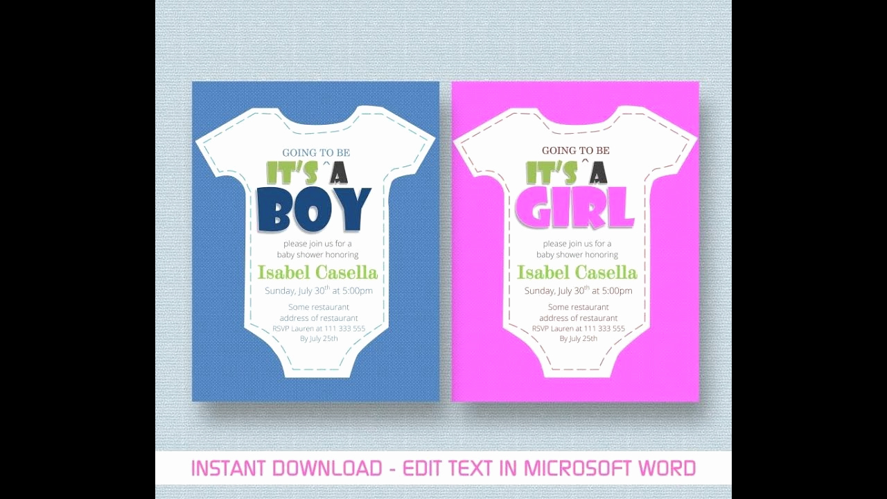 Baby Shower Invite Template Lovely Baby Shower Invitation Template for Ms Word