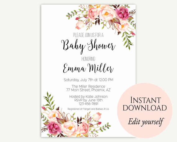 Baby Shower Invite Template Unique Baby Shower Invitation Template Baby Shower Invite Baby