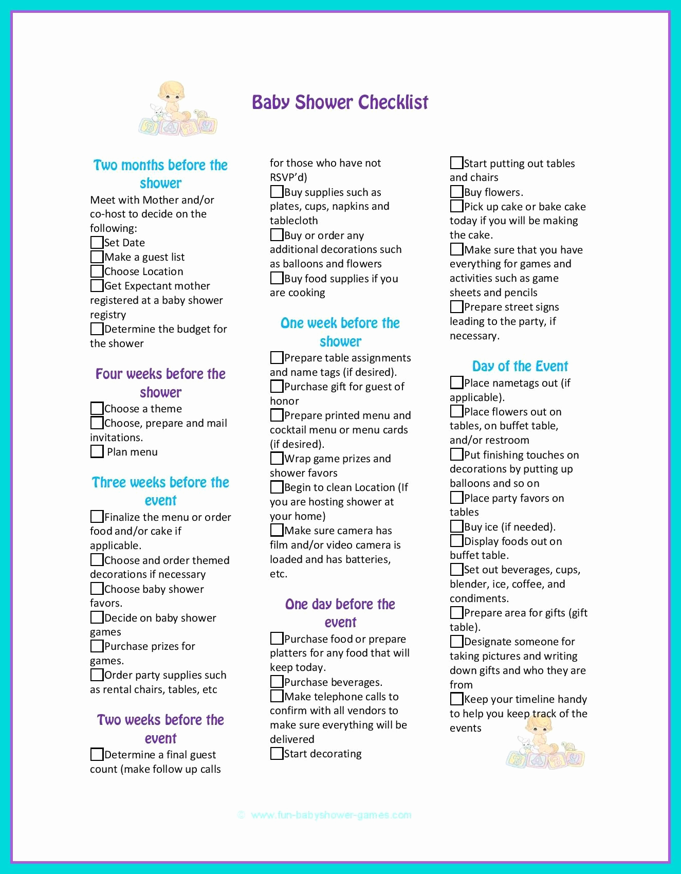 Baby Shower Planning Check List Awesome Baby Shower Checklist to Help Plan the Perfect Baby Shower