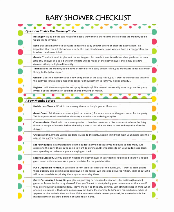 Baby Shower Planning Check List Lovely Baby Shower Planning 5 Free Pdf Documents Download