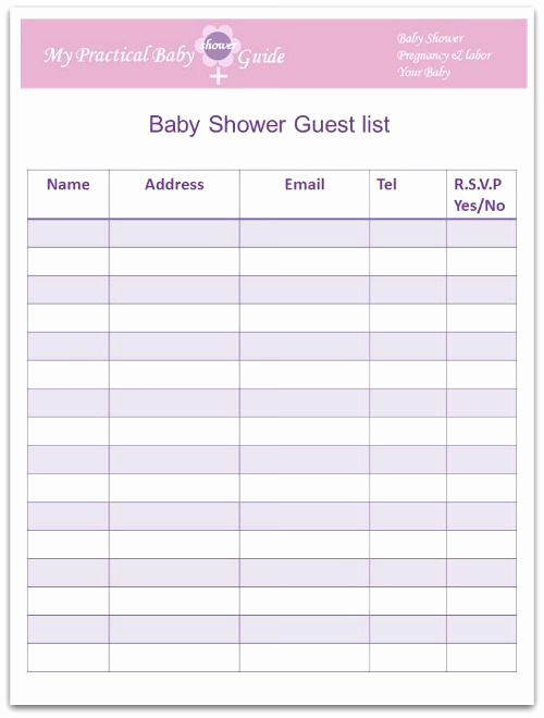 Baby Shower Planning Check List Unique Free Printable Baby Shower Guest List
