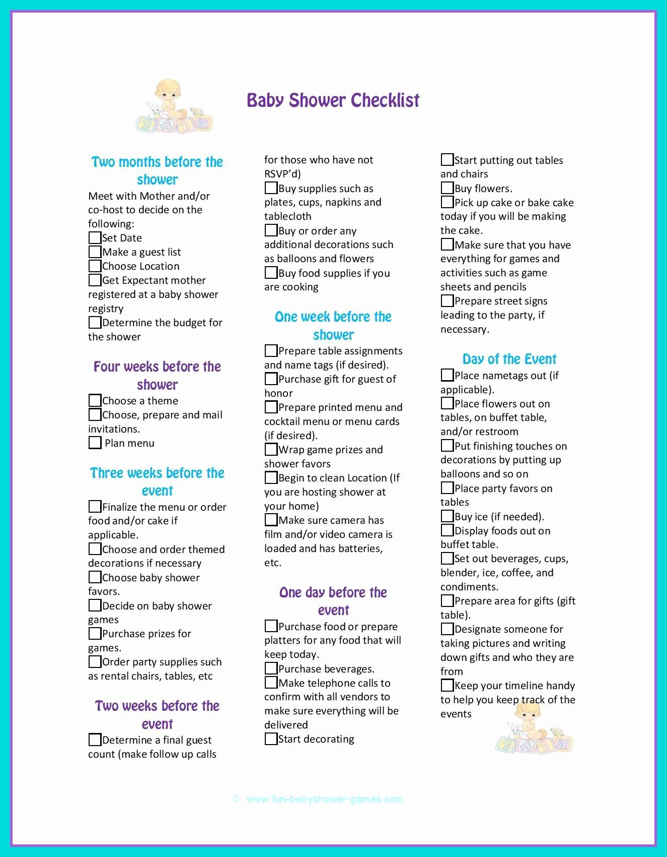 Baby Shower Planning Checklist Fresh Baby Shower Checklist to Help Plan the Perfect Baby Shower