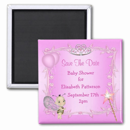 Baby Shower Save the Dates Beautiful Baby Bee Pink Princess Baby Shower Save the Date Magnet