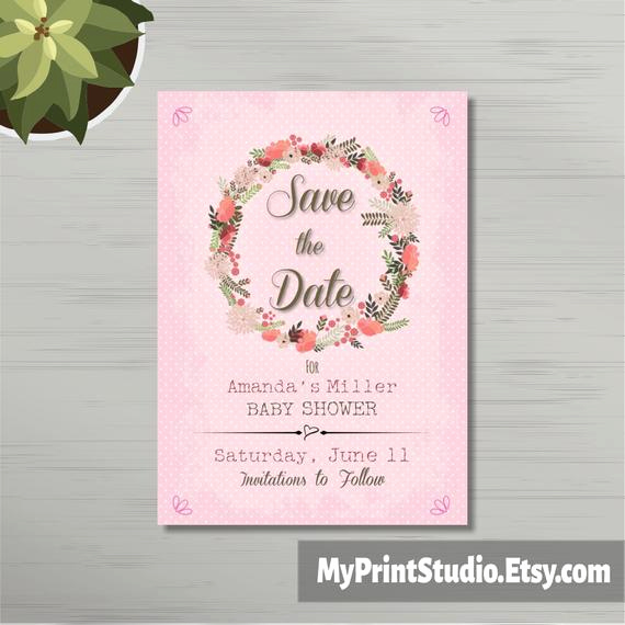 Baby Shower Save the Dates Best Of Save the Date Baby Girl Shower Card Template Save the Date
