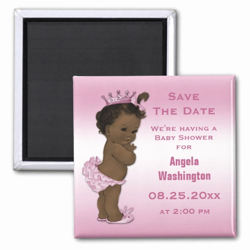 Baby Shower Save the Dates Fresh Ethnic Princess Baby Shower Save the Date Pink Magnet