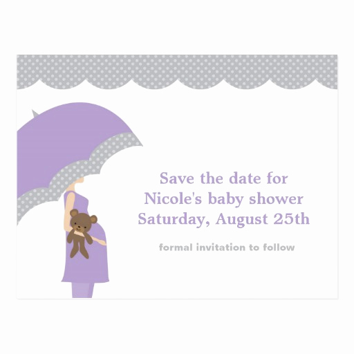 Baby Shower Save the Dates Luxury Lavender Umbrella Baby Shower Save the Date Postcard