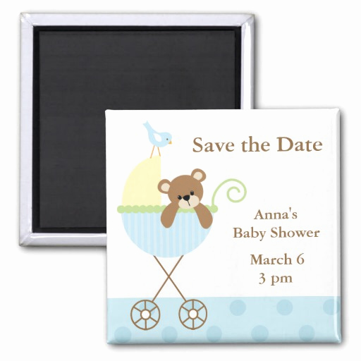 Baby Shower Save the Dates Unique Blue Bear Baby Shower Save the Date 2 Inch Square Magnet