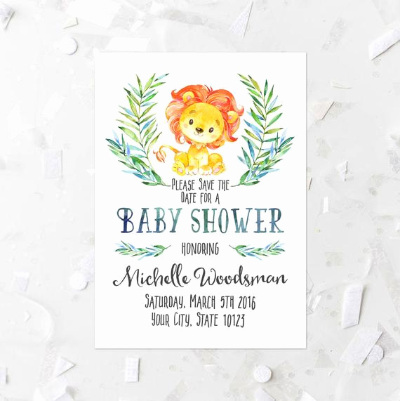 Baby Shower Save the Dates Unique Lion Baby Shower Save the Date Printable Lion Save the Date