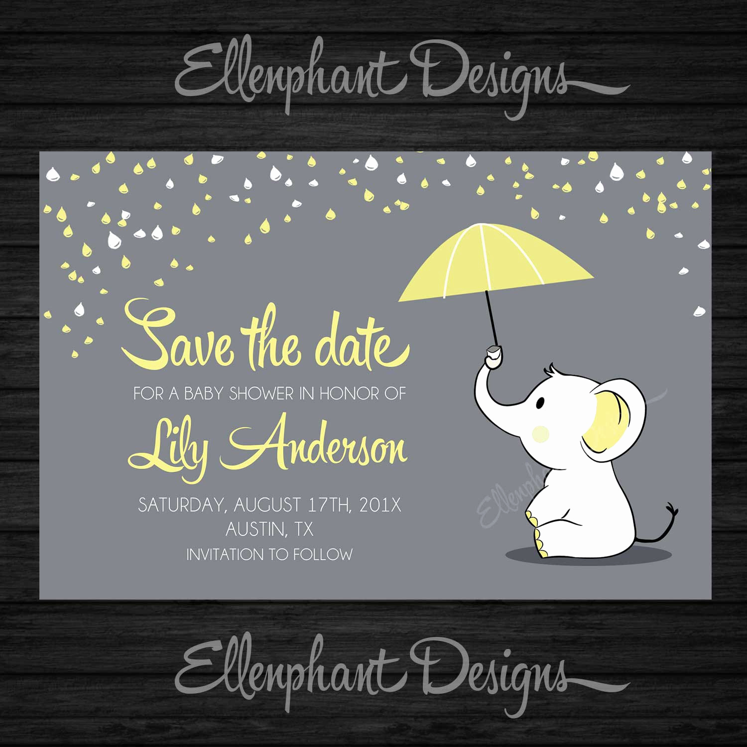 Baby Shower Save the Dates Unique Save the Date Yellow Elephant Baby Shower Umbrella Rain