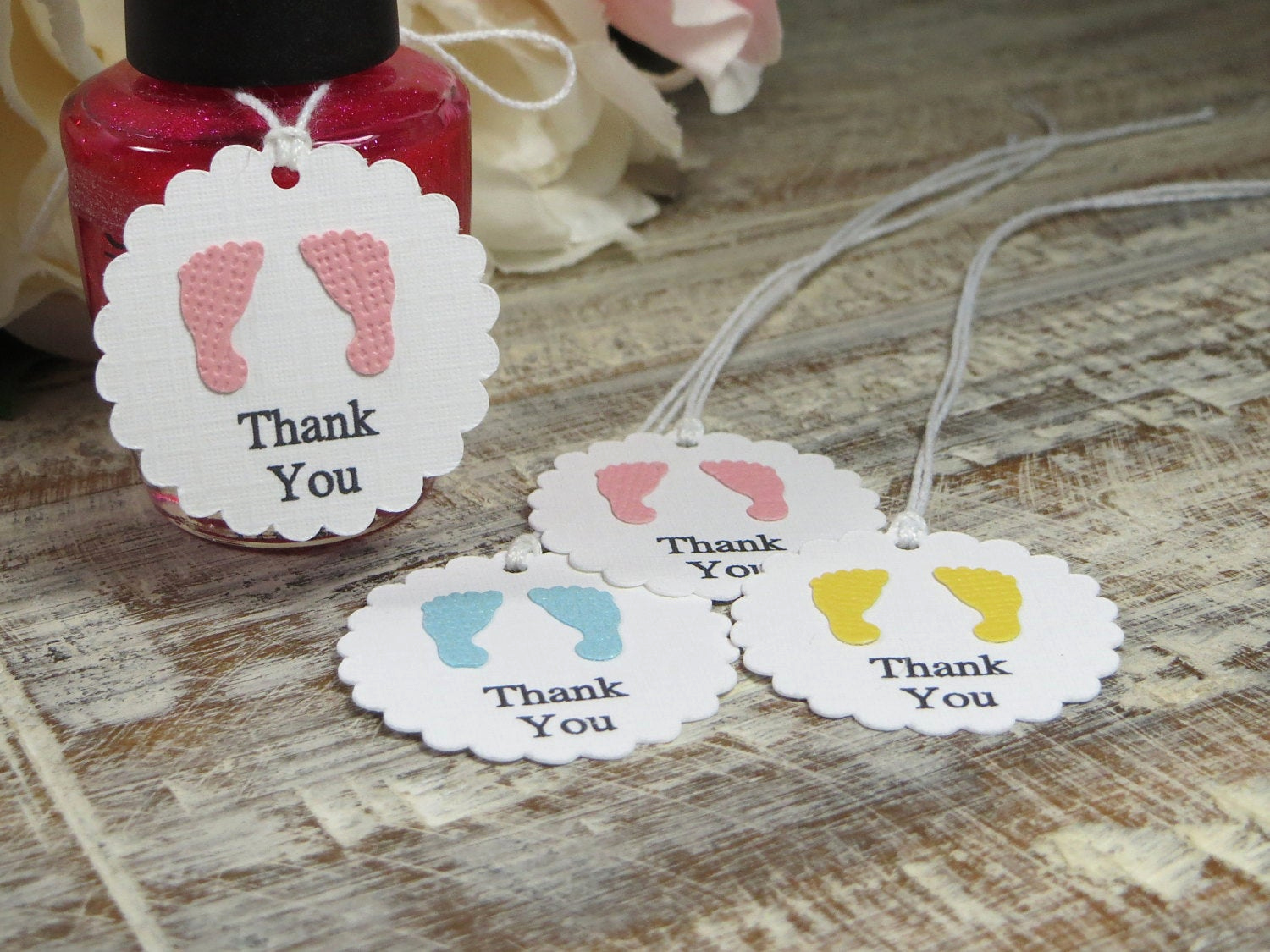 Baby Shower Thank You Tags Awesome Baby Shower Favor Tags Small Footprints Thank You Tags Small