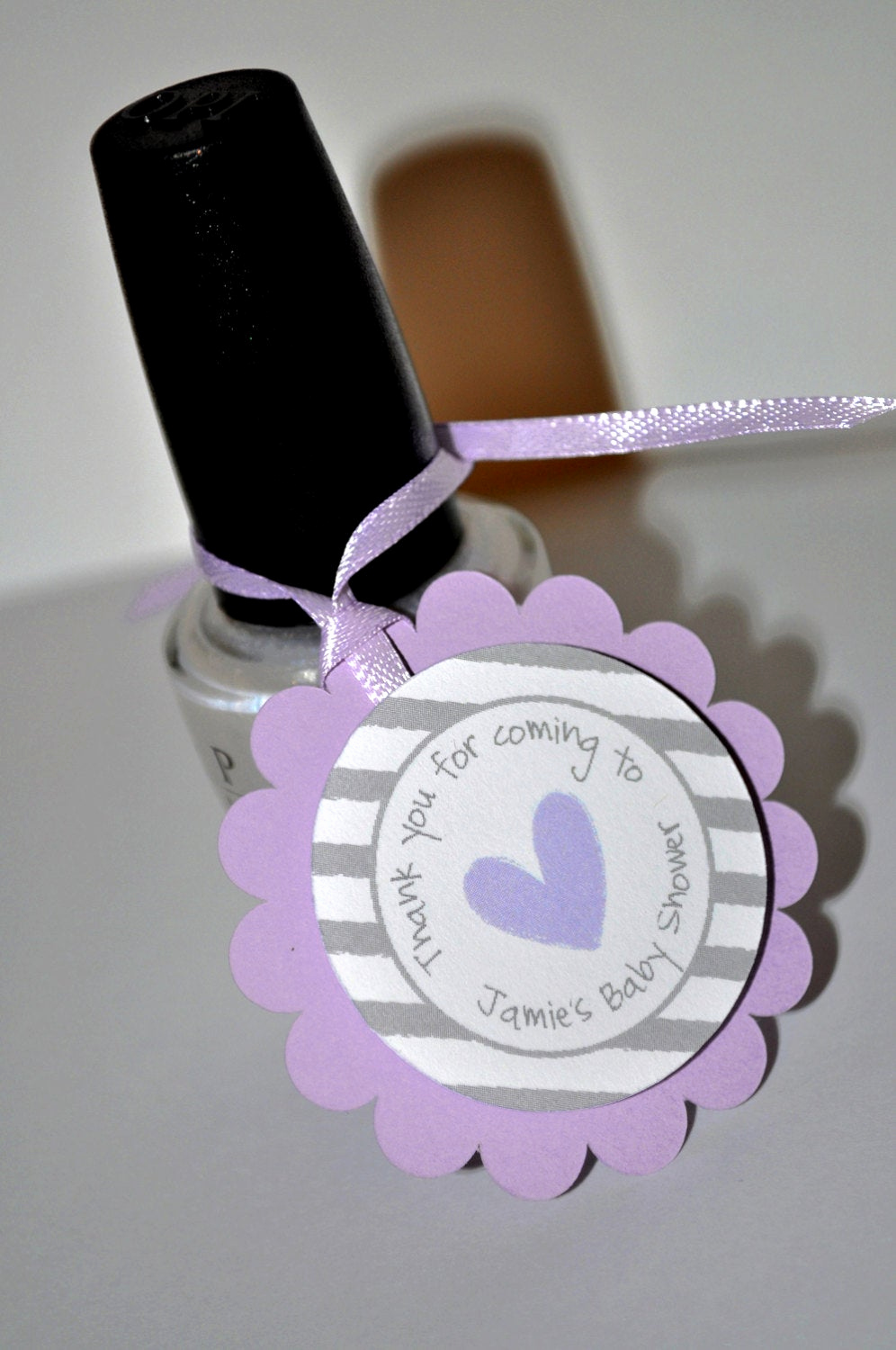 Baby Shower Thank You Tags Awesome Girls Baby Shower Favor Tags Purple and Gray Thank You
