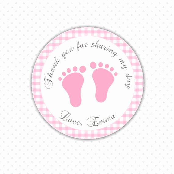 Baby Shower Thank You Tags Beautiful Pink Gingham Thank You Tags Baby Feet Custom Baby Shower