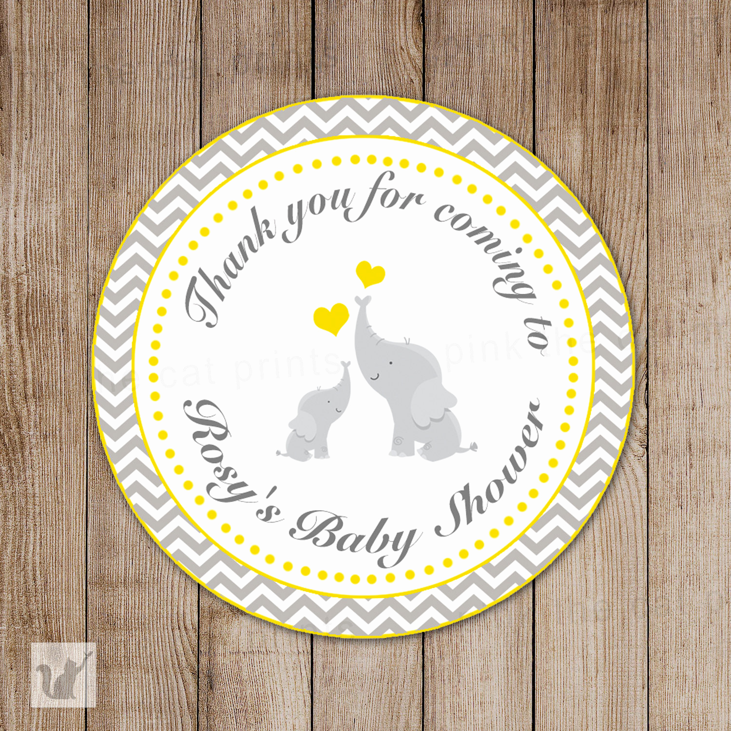 Baby Shower Thank You Tags Best Of Elephant Chevron Baby Shower Thank You Tags Yellow Grey