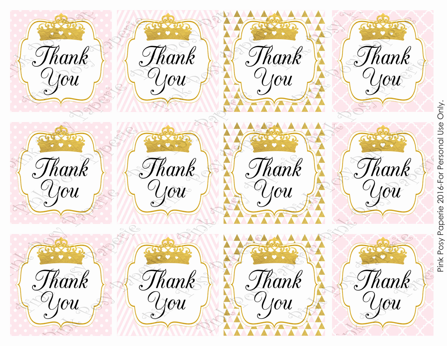 Baby Shower Thank You Tags Best Of Printable Pink Princess Girl Baby Shower Thank You Tags