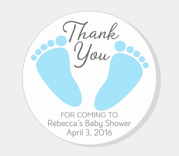 Baby Shower Thank You Tags Elegant Baby Feet Thank You for Ing Baby Shower Stickers Blue Boy