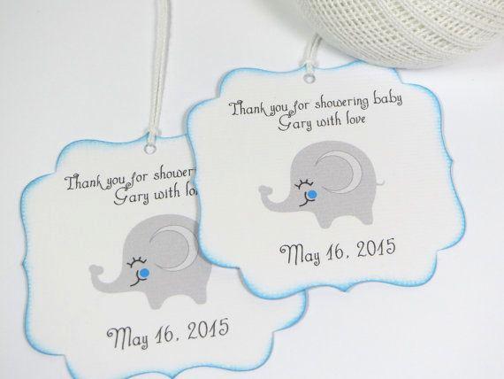 Baby Shower Thank You Tags Elegant Elephant Baby Shower Favor Tags Boy Baby Shower Thank You