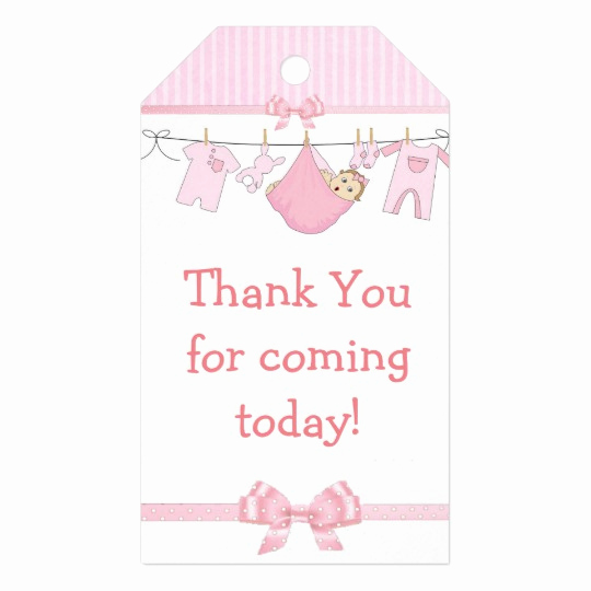 Baby Shower Thank You Tags Fresh Thank You for Ing Pink Baby Shower Gift Tag