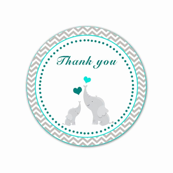 Baby Shower Thank You Tags Inspirational Elephant Thank You Labels Baby Shower Thank You Tag Teal