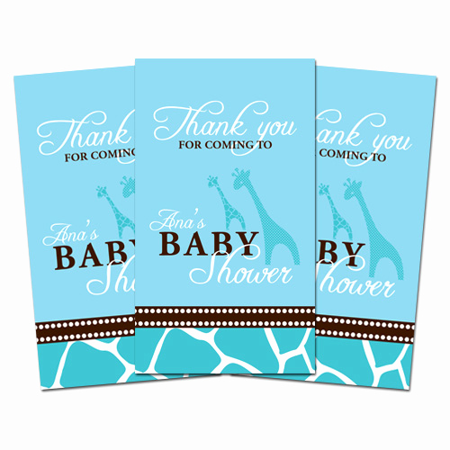 Baby Shower Thank You Tags Lovely 10 Blue Giraffe Personalized Baby Shower Favors Thank You