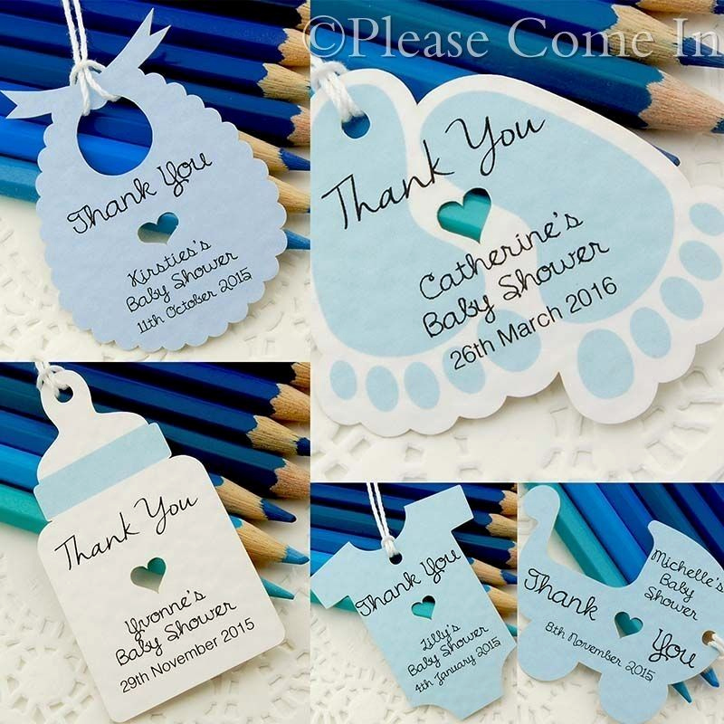 Baby Shower Thank You Tags New Blue Personalised Baby Shower Christening Favour Tags